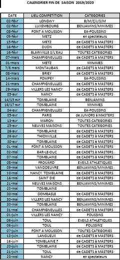 Calendrier competitions fin de saison 2019 2020