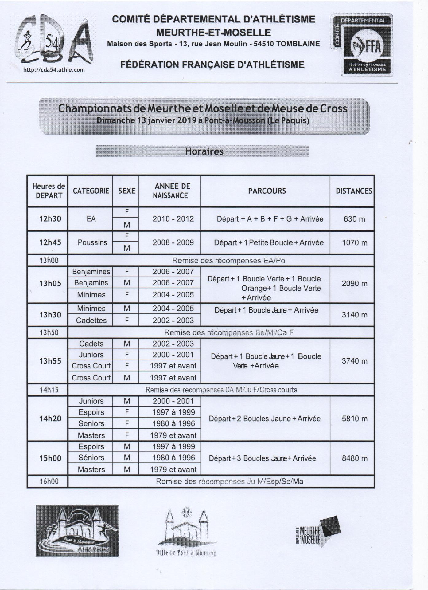 Horaires cross départemental 54/55 du 13 janvier 2019