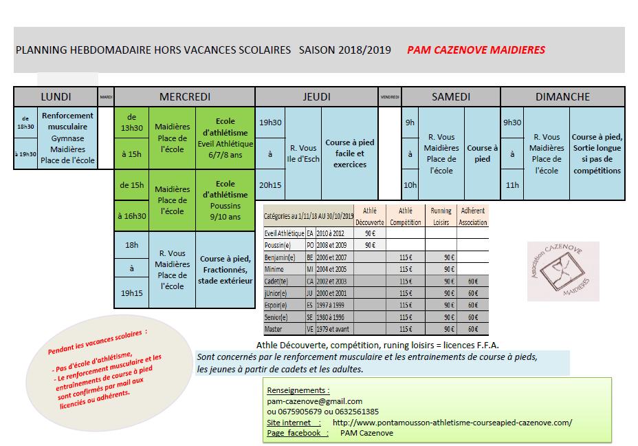 Planning pam cazenove 2018 2019